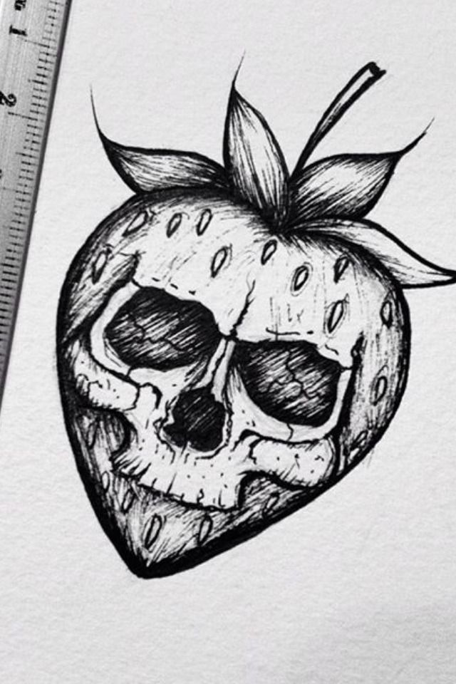 tattoo skull kawaii drawings easy drawing evil halloween tattoos sketches pencil strawberry zeichnung disegni draw cool thisnthat zeichnen dibujos kunst