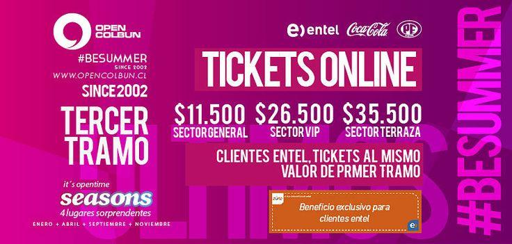 TERCER TRAMO TICKETS, RECTA FINAL,  Solo 7 días para la fiesta mas grande del centro sur de chile¡¡¡ #opencolbun #besummer #opentime
