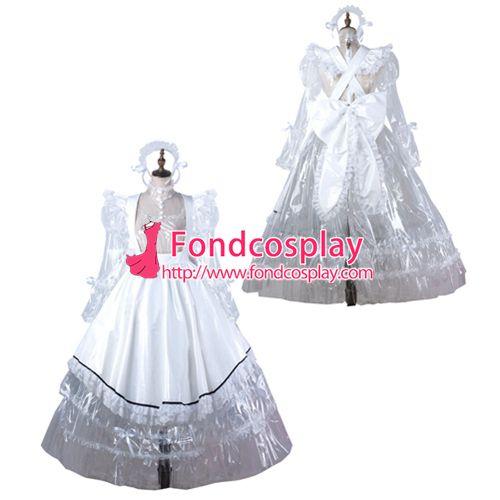 Sissy maid pvc dress lockable Uniform cosplay costume Tailor-made[G2205]