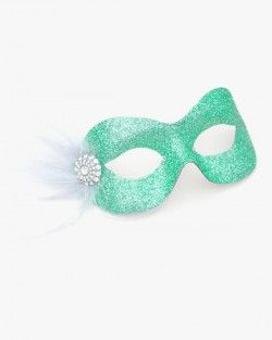 Pastel Pale Mint Sea Green Silver Pretty Sparkly Masquerade Eye Mask