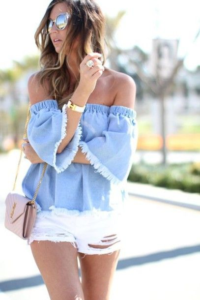 Wheretoget - Light blue frayed denim off-shoulder blouse, white denim ripped shorts and pastel pink shoulder bag paired with sunglasses and jewelry