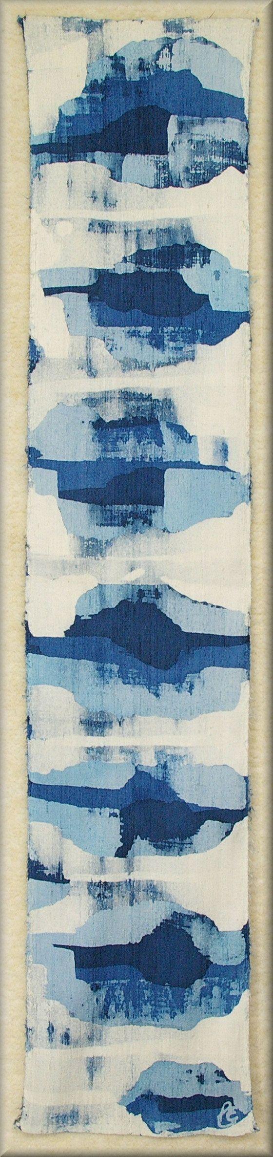 "Snow Melting on a Blue Creek - Thick Dupioni Silk Unisex Scarf (approx. 11x54 inches) Hand dyed by Laura Elderton ""SilkinArt""  https://www.etsy.com/shop/lauraelderton"
