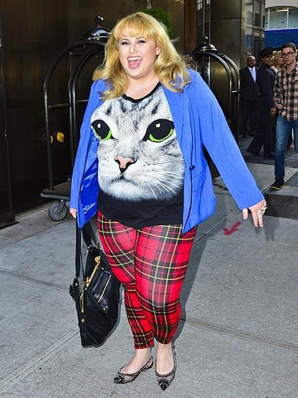 Rebel Wilson rocks some furry fashion while exiting her N.Y.C. hotel before the premiere of her new ABC comedy, Super Fun Night. http://www.people.com/people/gallery/0,,20740460,00.html#30029424