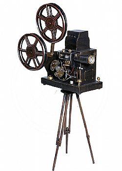 DCSE Film projector dummy, metal case, detailed replica, with rotatable film rolls. Vintage decoration old cinema