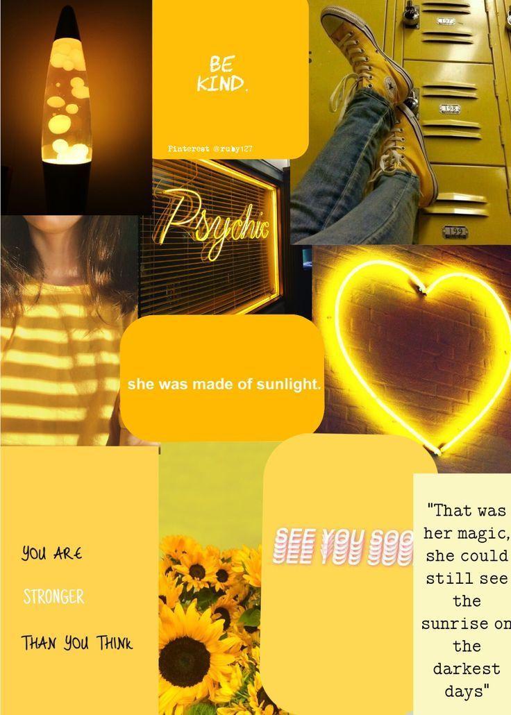 Aesthetic Yellow Wallpaper Quotes Sunshine Pinterest Phone Iphone Ipad Desktop C Wallpapers Aesthetic Yello In 2020 Yellow Wallpaper Yellow Aesthetic Wallpaper Quotes