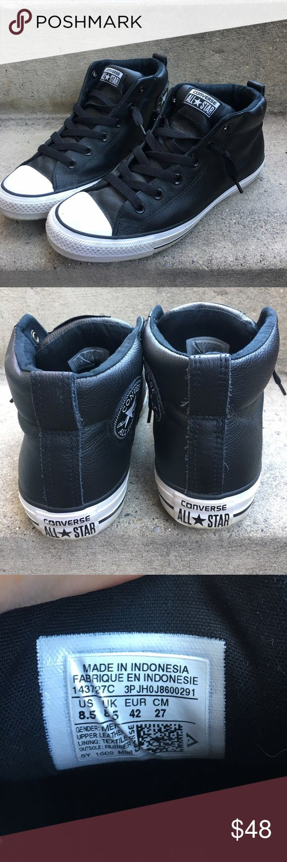 Converse Chuck Taylor Leather Street Mid Black Excellent Condition! Very comfortable and no need to tie the laces. Converse Shoes Sneakers
