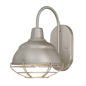 For Wall Sconce above sink  Millennium Lighting�8-1/4-in W Neo-Industrial 1-Light Satin Nickel Arm Wall Sconce