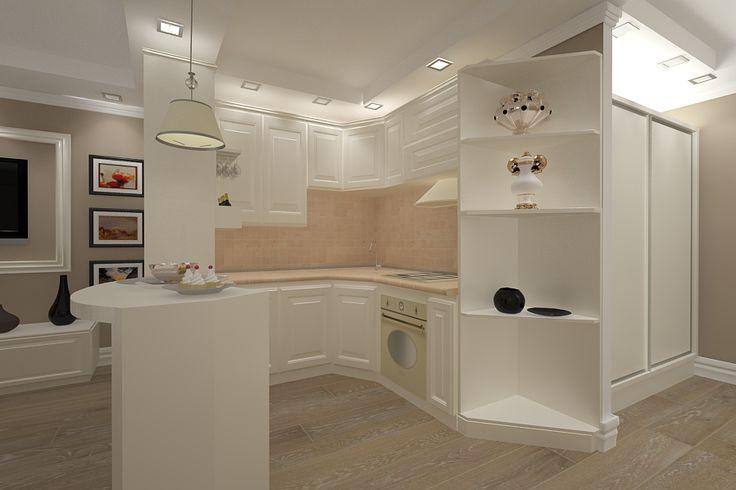 Design interior bucatarie apartament realizata in stil new clasic pentru apartament in Constanta.Proiectare mobila bucatarie clasic de lux By Italia.