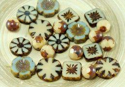 Picasso Czech Glass Table Cut Coin Flower Beads - New Arrivals 21.03.2017 | CzechBeadsExclusive