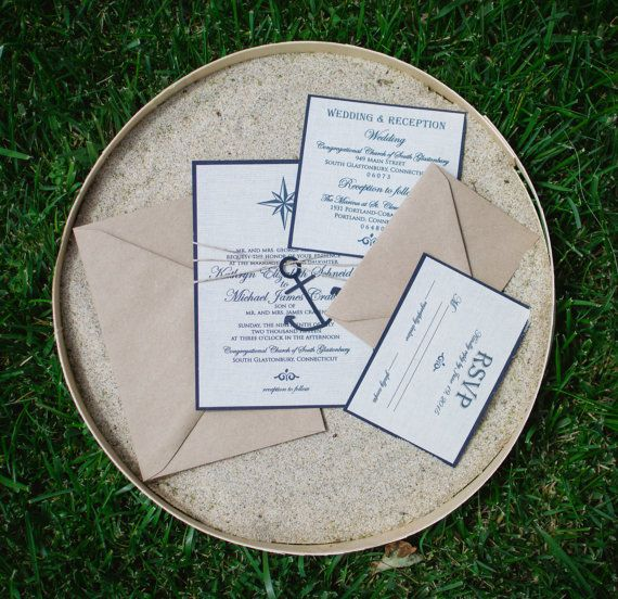 Check out this item in my Etsy shop https://www.etsy.com/listing/192749194/nautical-wedding-invitation-linen