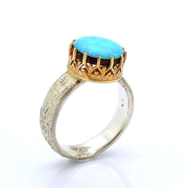 Band Rings – Opal ring set in a gold lace and sterling silve... – a unique product by HadasJewelry on DaWanda
