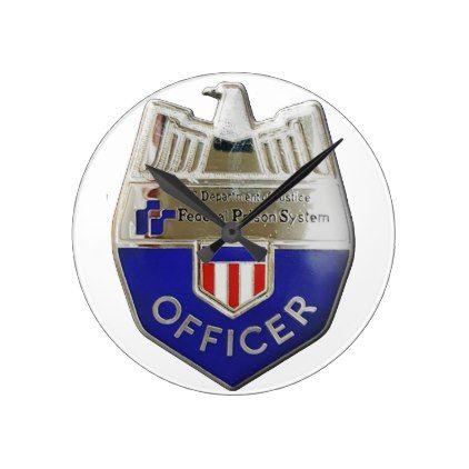 Federal Prison Officer Round Clock - office decor custom cyo diy creative