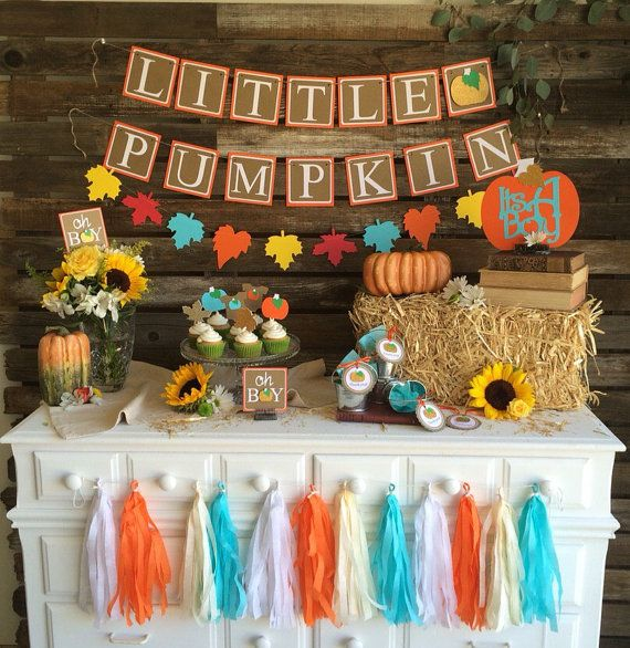 Little Pumpin Fall Baby Shower Banner First by BlueOakCreations