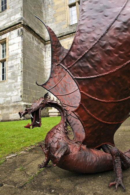 Steel dragon statue created by artist Martin Bailey at Wildlife & Countryside Services in the UK.