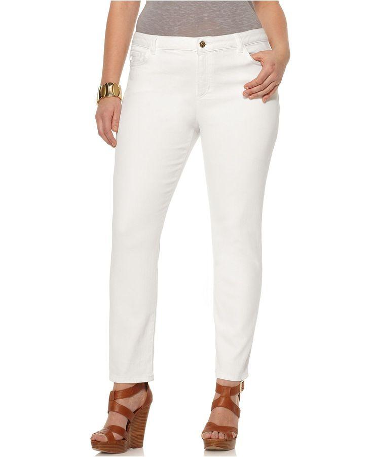 MICHAEL Michael Kors Plus Size Jeans, Straight Leg White Wash ...