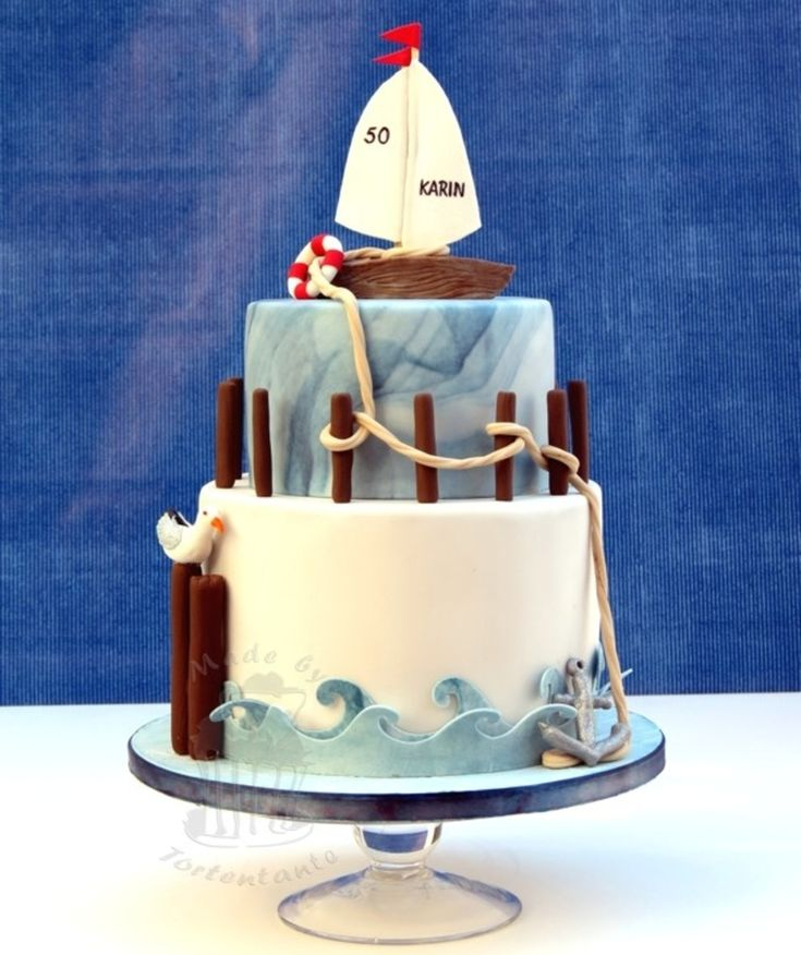 Sailboat Cake Sailboat Cake Birthday cake for a good friend.All decorations out of modelling fondant, waves cut out of gumpaste with my cricut.For more...