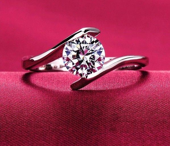 hearts arrows ideal corte suíça diamond zirconia cúbico de halo platinum anel de noivado mulheres grandes jóias de casamento do diamante tamanho eua US $4.99