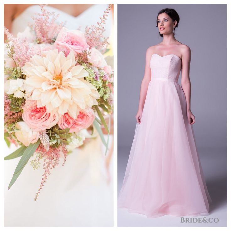 Return to #Romance! Make it a night to remember in this #beautiful, soft pastel #pink #dress with #lace bodice and #tulle floaty gown. Click to Book a Free Fitting in this style 7039PV2).  #pinkdress #instadaily #brideandco #southafrica #longdress #pretty