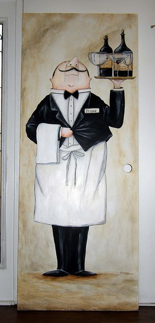 Pierre the Waiter - Mural Painted on Door