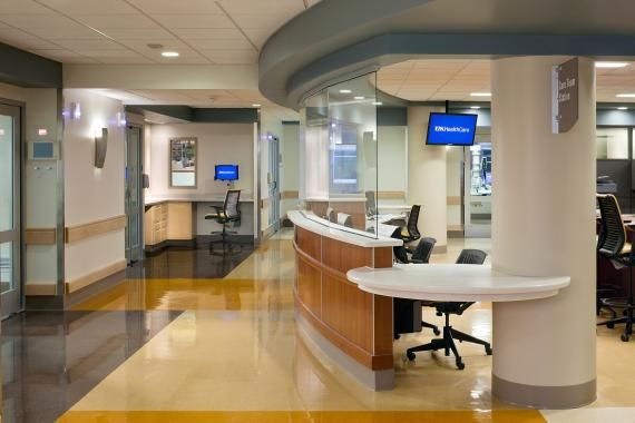 Glass at nurses' stations helps reduce noise but allows visibility at University of Kentucky's Albert B. Chandler Hospital Pavilion A in Lexington, Ky. Noise is the greatest cause of patient dissatisfaction in the inpatient setting. Photo: ©Scott Pease/Pease Photography.