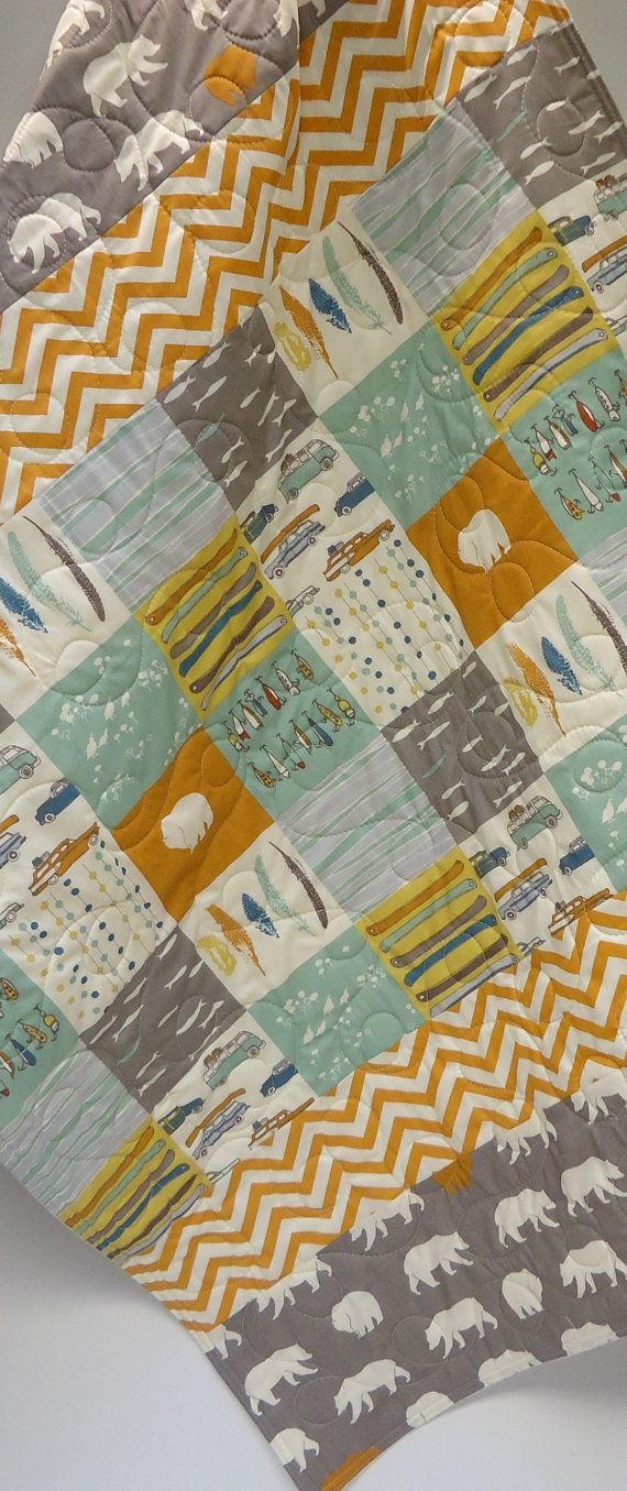 Modern Baby Boy Quilt-Rustic Baby by NowandThenQuilts on Etsy