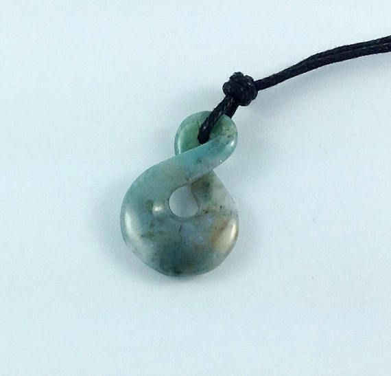 Moss agate pendant carved moss agate infinity pendant