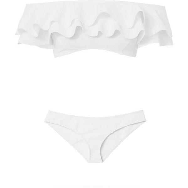 Lisa Marie Fernandez Women's Mira Double Ruffle Bandeau Bikini ($445) ❤ liked on Polyvore featuring swimwear, bikinis, white, ruffle bandeau bikini top, ruffle bikini, bandeau bikinis, white bandeau bikini top and bikini swimwear