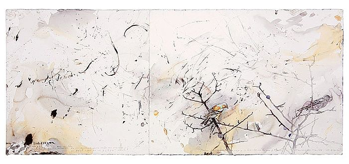 John Wolseley Pinson des Arbres singing above Picasso's Grave - Vauvenargues 2008 found charcoal, graphite and watercolour on paper signed and dated l.r.; inscribed on image 56 x 132  cm