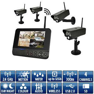 Kit video surveillance sans-fil numérique avec 4 caméras extérieure IP54 - infrarouge - détection de mouvement et récepteur 2.4Ghz écran LCD 7
