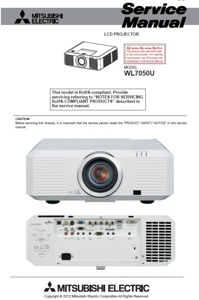 Mitsubishi Wl7050u Projector Service Manual Repair Guide Repair Guide Projector Maintenance Jobs