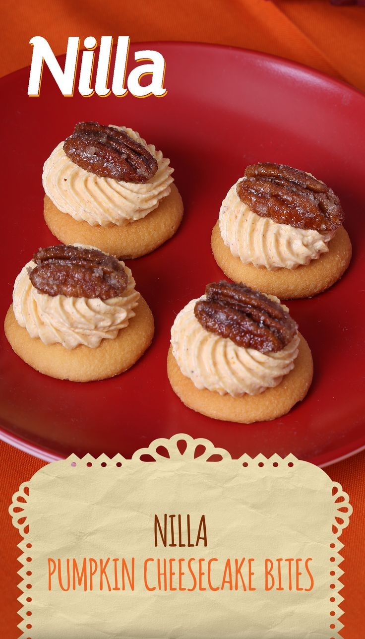 These delicious mini desserts are a celebration of Latin American flavors – calabaza (pumpkin), cinnamon, candied pecans – all artfully arranged on top of a tasty NILLA Wafer! The perfect postre latino for all your family and friends!