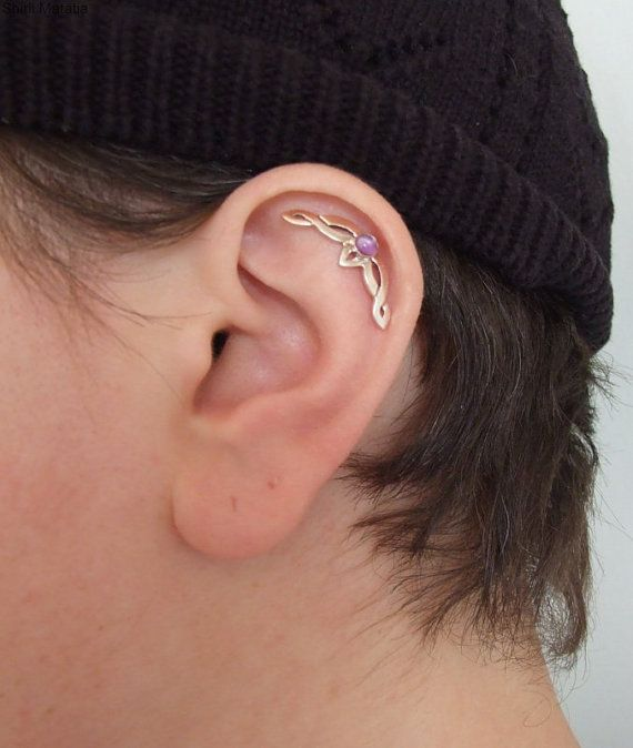 Celtic Knot Single Ear Piercing with Stone - silver ear piercing , cartilage earring , celtic jewelry , lord of the rings , game of thrones on Etsy, $53.00