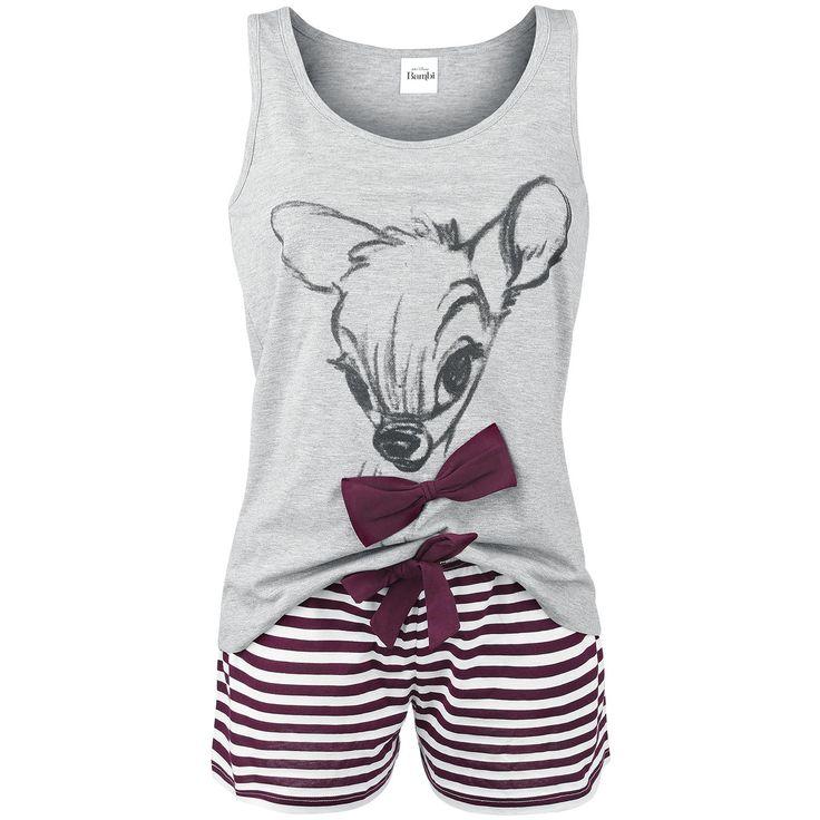 """Bambi - Lovely Stripes  - Conjunto de pijama - Dibujo delantero en el top - Pantalones a rayas  Si quieres ir adorable a la cama y salir de un saltito necesitas este pijama con el clásico de Disney """"Bambi"""". Nadie se atreverá a llevarte la contraría con semejante dibujo delantero de la feliz criatura de los bosques sobre el top gris y esos pantalones cortos a rayas rojas horizontales."""