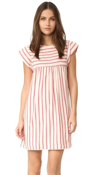 Subtly patterned stripes detail this charming dRA dress. Button back keyhole. Picot-trimmed edges. Short sleeves