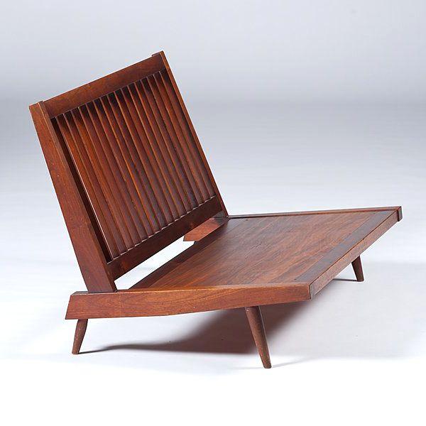 Walnut armless settee sofa with cushions George Nakashima