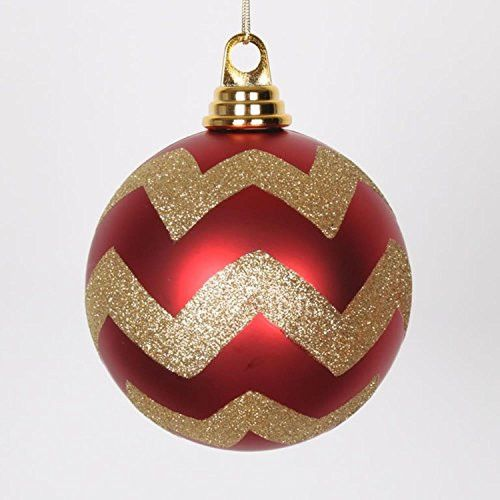 Felices Pascuas Collection Red Matte with Gold Glitter Chevron Christmas Ball Ornaments 4.75 inch (120mm)