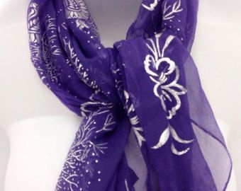 Purple silk scarf, Purple scarf Gift for Aunt, Gift for Coworker, Purple Floral shawl, Birthday gift for Stepmom, Silver Purple Scarf by blingscarves. Explore more products on http://blingscarves.etsy.com