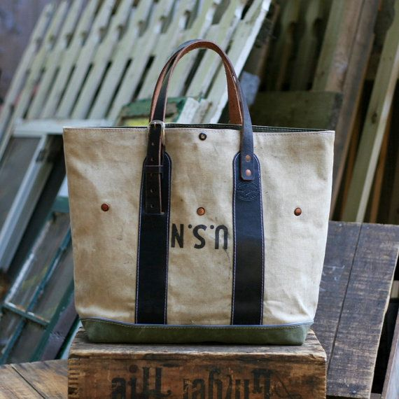 Canvas Carryall made from a Vintage U.S.N. by JaredDeSimioMaker, $480.00