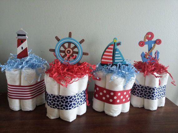 4 Nautical theme mini diaper cakes baby shower by diapercake4less, $28.00