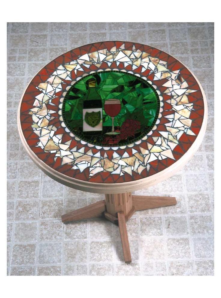 Mosaic wine bottle amp glass tabletop wine cellar art pinterest