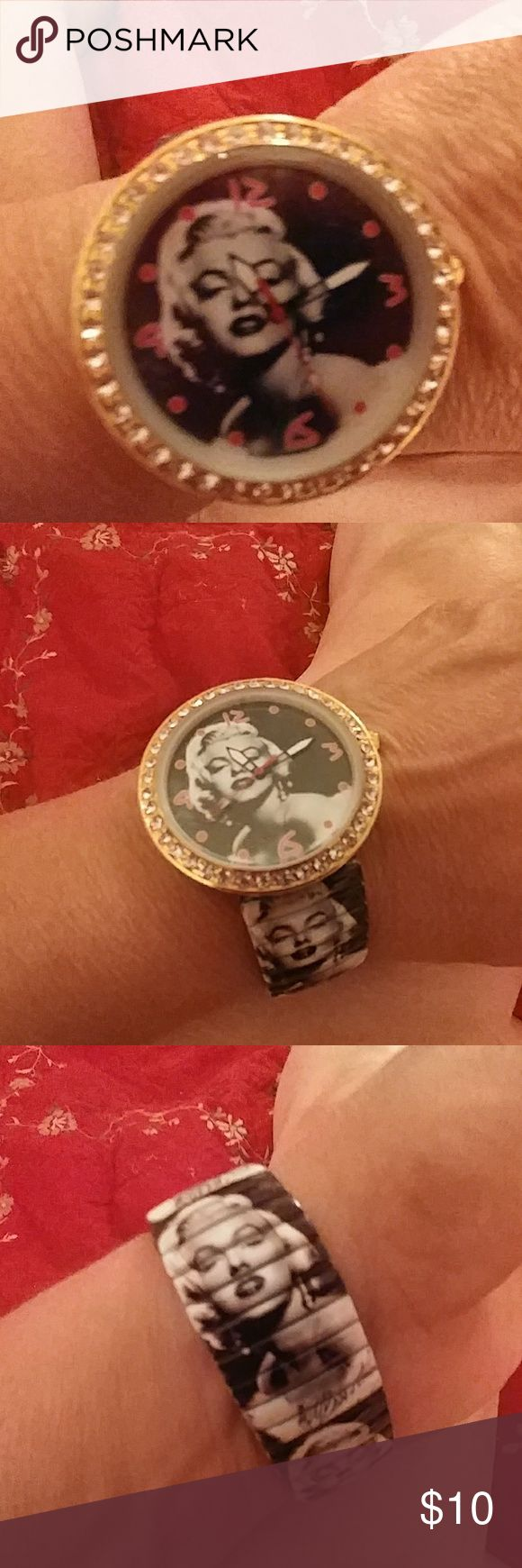Large face watch Marilyn Monroe rhinestone studded One-size-fits-all stretch band is metal.  Will come to you with a hands moving Accessories Watches