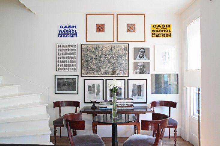 home tour Jeffrey and Cheryl Katz, art, by Justine Hand for --love the klismos chairsRemodelista