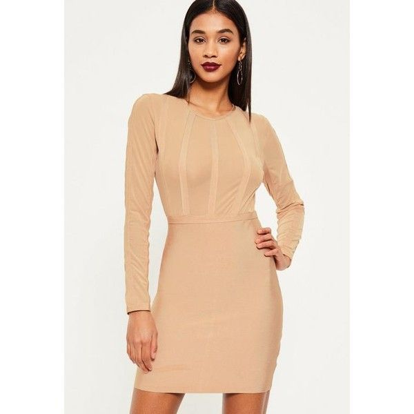 Missguided Nude Bandage and Mesh Stripe Bodycon Dress ($81) ❤ liked on Polyvore featuring dresses, camel, long sleeve dresses, beige cocktail dress, long sleeve party dresses, long sleeve cocktail dresses and striped bodycon dress