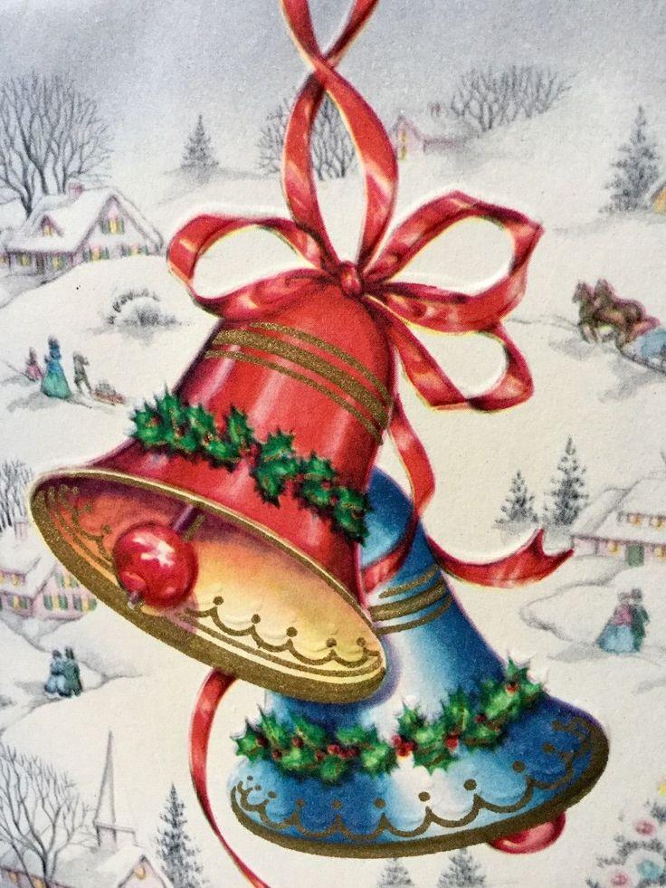 Открытки с рождеством колокольчики