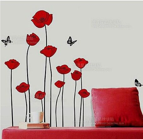 RED POPPY Removable Wall Decals Home Decor Art Flower Vinyl Mural Wall Stickers Free Shipping