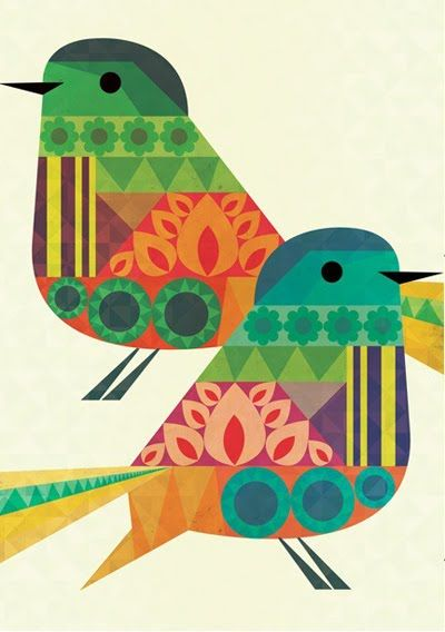Crayon Fire bird print