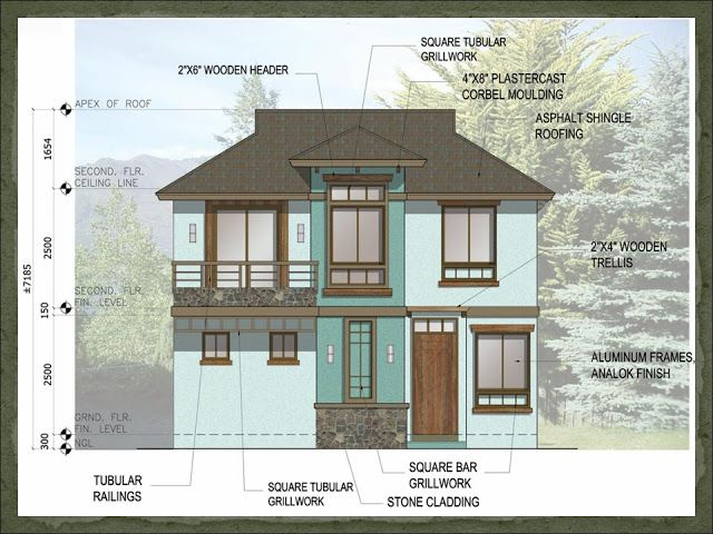 A two storey 3 bedroom home fitting in a 120 square meter for Asian home design