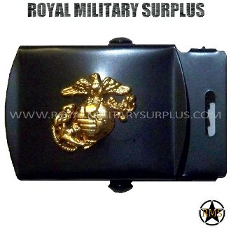 "Belt Buckle - US MARINES EMBLEMA (Black/Gold) - 6,95$ (CAD) - UNITED STATES MARINE CORPS EMBLEMA Color: Black and Gold Made following Military Specifications 100% Steel Easy to Install Designed for 1.5"" Belts and Under Size: 2.5""x 1.5"" – 6.4 CM x 3.8 CM) BRAND NEW WWW.ROYALMILITARYSURPLUS.COM"