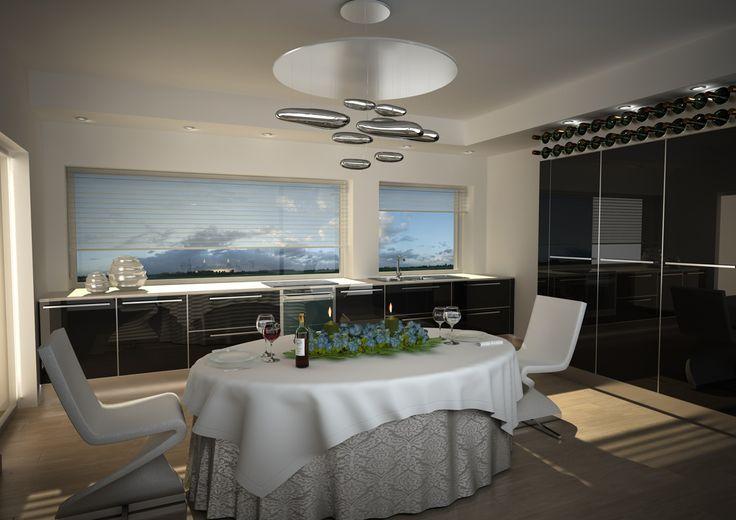 Render di una cucina con anta in vetro nero lucido