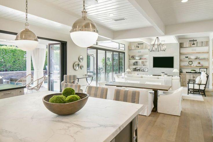 living room - colors, materials, layout, sofa, kitchen light fixtures (Kelly Nutt Design)